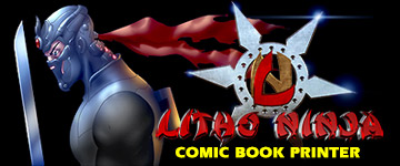 litho ninja printer comic book printer logo